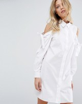 Asos Cotton Shirt Dress With Cold Shoulder And Tie Detail