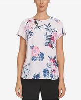 CeCe Floral-Print Cap-Sleeve Top
