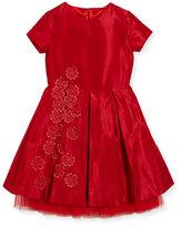 Oscar de la Renta Silk Taffeta Party Dress with Guipure Flowers, Red, Size 3-14