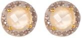Gold Plated Sterling Silver Diamond & Moonstone Stud Earrings