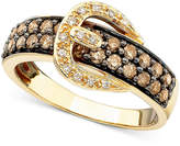 LeVian Le Vian Chocolate Diamond (3/4 ct. t.w.) and White Diamond Accent Buckle Ring in 14k Gold