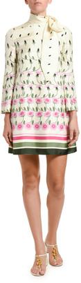 Valentino Floral-Print Silk Tie-Neck Shift Dress
