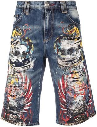 Philipp Plein Tattoo-Print Distressed Shorts