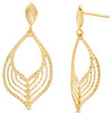 Zales Made in Italy Diamond-Cut Open Flame Drop Earrings in 10K Gold