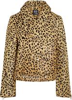 McQ by Alexander McQueen Leopard-print calf hair biker jacket