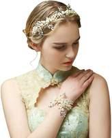 ShiningLove Handmade Crystal Rhinestone Pearls Wedding Head Band Bridal Headwear Hair Accessories Gold