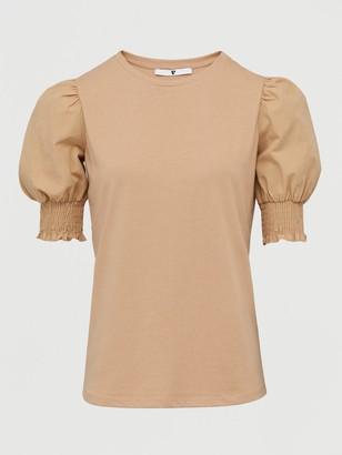 Very Poplin Sleeve Gathered Sleeve T-Shirt - Stone