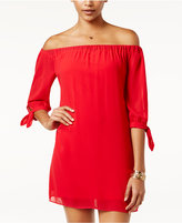 Amy Byer Off-The-Shoulder Tie Shift Dress