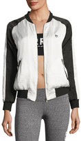 Spiritual Gangster Sunshine Retro Bomber Jacket, White/Black