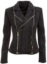 Balmain ribbed accent biker jacket - women - Cotton/Lamb Skin/Viscose - 42