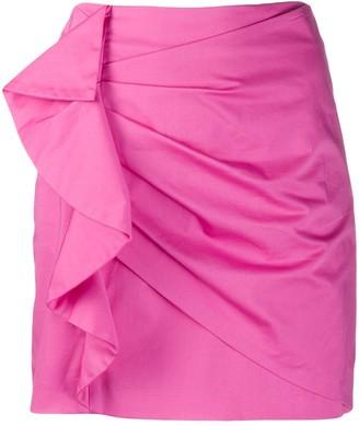 Derek Lam 10 Crosby Perinne Asymmetrical Cotton Sateen Ruched Mini Skirt