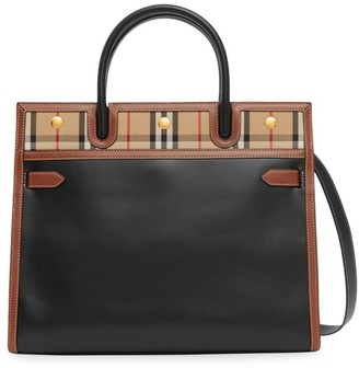 Burberry Small Title Vintage Check Leather Satchel