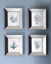 Four Blue Coral Prints