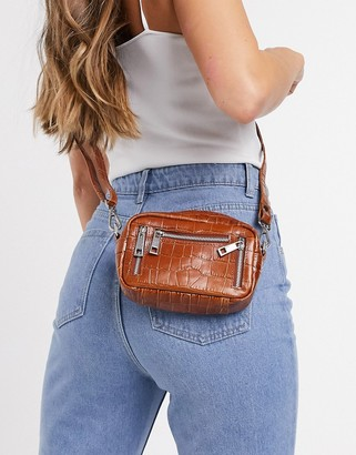 Nunoo Brenda leather double zip cross body bag in brown croc