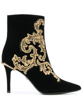 Roberto Cavalli embroidered snake ankle boots - women - Leather - 36