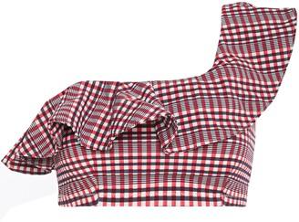 Ganni Mahogany One-shoulder Ruffled Checked Stretch-seersucker Bikini Top