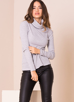 Missy Empire Fifi Grey Ribbed Polo Neck Top
