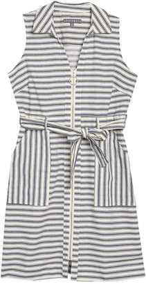 Sharagano Striped Sleeveless Belted Zip Front Dress (Petite)