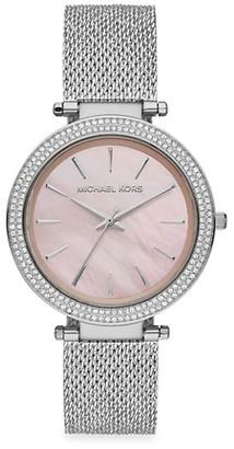 Michael Kors Darci Three-Hand Silver Crystal Watch