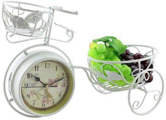 Orient Three Star Metal Rustic Bike Table Clock and Pot Holder