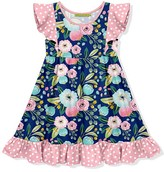 Millie Loves Lily Girls' Casual Dresses Famous - Navy & Pink Famous Floral Angel-Sleeve Dress - Toddler & Girls