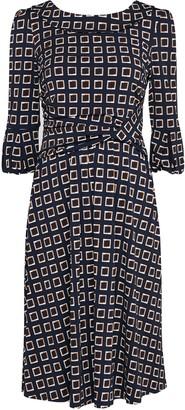 Wallis **Jolie Moi Navy Print Bell Sleeve Dress