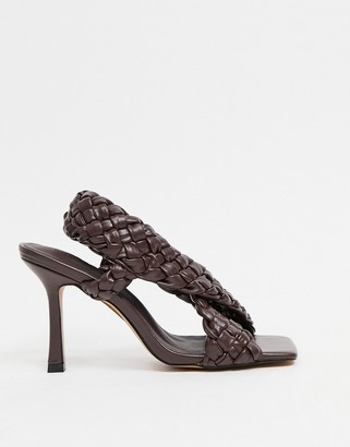ASOS DESIGN Nock woven cross-strap heeled sandals in chocolate