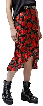 The Kooples Abstract Roses Jacquard Midi Skirt