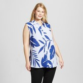 Merona Women's Plus Size Sleeveless Blouse Blue Leaf Print