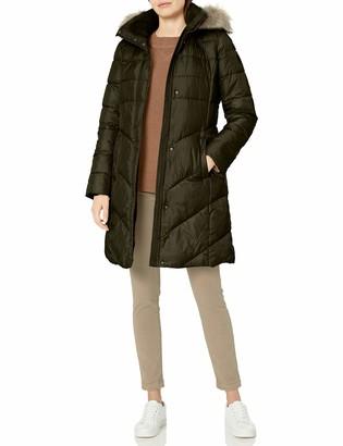 Larry Levine Women's Long Puffer W/Detachable Faux-Fur Trimmed Hood