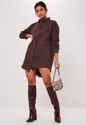 Missguided Chocolate Oversized Denim Shirt Dress