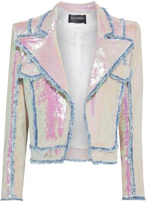 Balmain Iridescent Sequined Stretch-knit Jacket