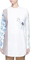 Ports Scribble print panel poplin shirt