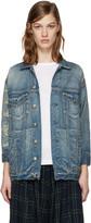 R 13 Blue Denim Shredded Trucker Jacket