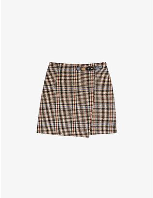 Sandro Dalya checked tweed wrapover mini skirt