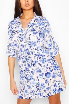 boohoo Porelain Print Belted Shirt Dress