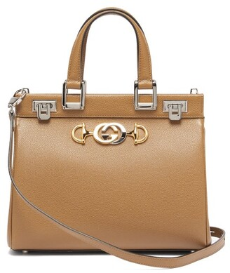 Gucci Zumi Small Top-handle Grained-leather Bag - Womens - Beige