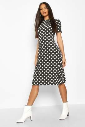 boohoo Polka Dot Short Sleeve Midi Dress