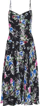 Milly Emily Button-detailed Floral-print Silk-chiffon Slip Dress