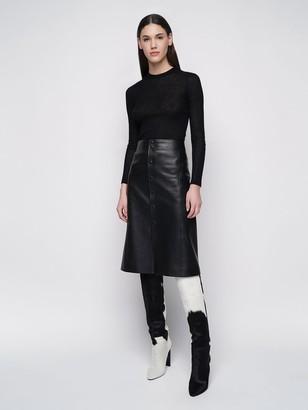 Saint Laurent High Waist Leather Midi Skirt