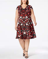 Alfani Plus Size Printed Fit & Flare Dress, Created for Macy's