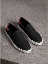 Burberry Perforated Check Leather Slip-on Trainers , Size: 41, Black