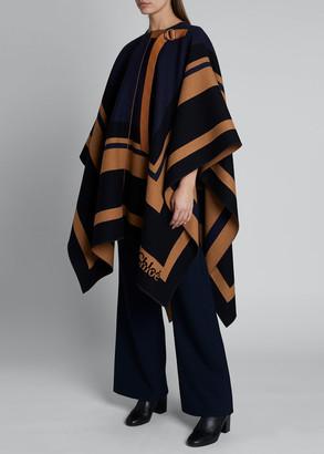 Chloé Striped Wool Blanket Cape
