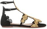 Alaia Black suede gold raffia flat sandals