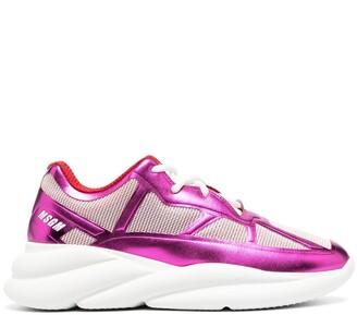 MSGM Metallic Finish Sneakers