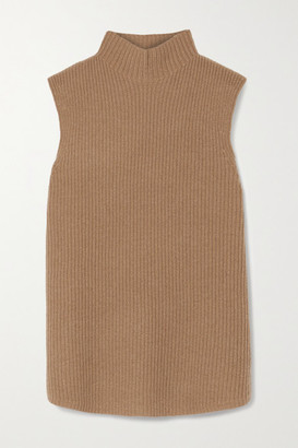 Theory Ribbed Cashmere Turtleneck Top - Camel