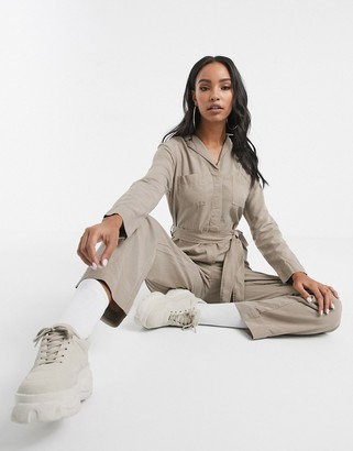 Kings of Indigo Janelle jumpsuit with tie belt in stone
