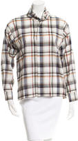 eskandar Plaid Button-Up Top