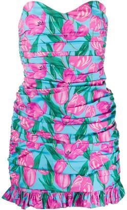 Giuseppe di Morabito Floral-Print Ruched Strapless Mini Dress