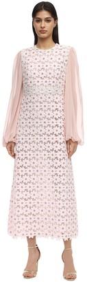 Giamba Long Macrame & Chiffon Dress